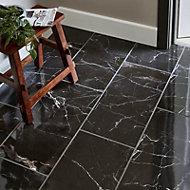 Elegance Black Gloss Marble effect Porcelain Floor Tile Sample