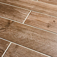 Cotage wood Light brown Matt Wood effect Porcelain Wall & floor Tile Sample