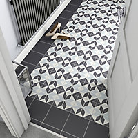 Hydrolic Black & white Matt Star Concrete effect Porcelain Floor Tile Sample