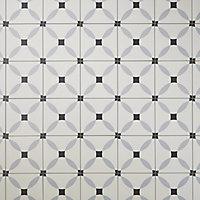 Hydrolic Black & white Matt Calisson Concrete effect Porcelain Floor Tile Sample