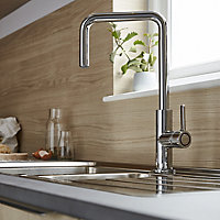 GoodHome Kamut Chrome effect Kitchen Side lever Mixer tap