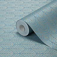 GoodHome Lunaria Teal Art deco design Metallic Pattern wallpaper