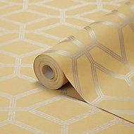 GoodHome Allium Yellow Geo design Metallic Pattern wallpaper