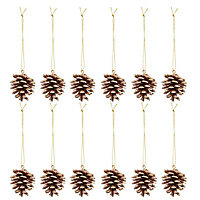 Gold Glitter effect Pine cone Decoration, Pack of 12
