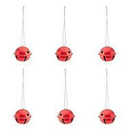Red Gloss & matt Metallic effect Bell Bauble, Pack of 6