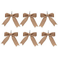 Hessian Hessian effect Bow Decoration, Pack of 6