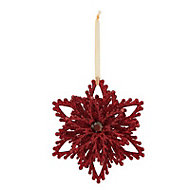 Red Glitter effect Snowflake Decoration