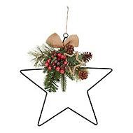 36cm Berry & pine cone star Wreath
