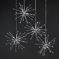 Ice white LED Hanging star burst Silhouette, Set of 4