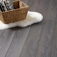 GoodHome Horsham Grey Oak effect Laminate flooring, Sample