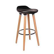 Shira Contemporary Black & Chrome effect Bar Stool (H)805mm (W)390mm