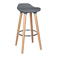 Shira Contemporary Anthracite & Chrome effect Bar Stool (H)805mm (W)390mm