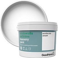 GoodHome Windowsills & trims Pure brilliant white Smooth Matt Masonry paint, 2.5L