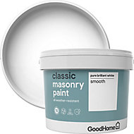GoodHome Classic Pure brilliant white Smooth Matt Masonry paint, 10L