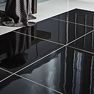 Livourne Black Porcelain Wall & floor tile, Pack of 3, (L)600mm (W)600mm