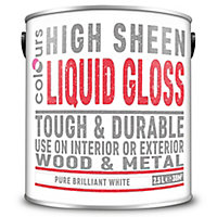 Colours Pure brilliant white Gloss Metal & wood paint, 2.5L