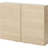 GoodHome Imandra Oak effect Double Door Wall cabinet, (W)800mm, (H)600mm