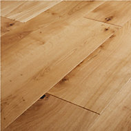 GoodHome Marcy Natural Oak Real wood top layer flooring, 1.37m² Pack