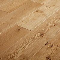 GoodHome Ystad Natural Oak Solid wood flooring, 1.44m² Pack