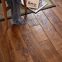 GoodHome Skanor Wide Oak Solid wood flooring, 1.8m² Pack