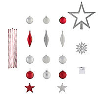 Red & silver Glitter effect Assorted Decoration, Pack of 100