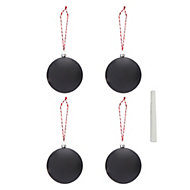 Black Matt Chalkboard Bauble, Pack of 4