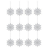 Silver Glitter effect Snowflake Decoration, Set of 12