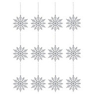 Silver Glitter effect Snowflakes Decoration, Set of 12