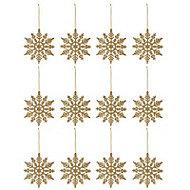 Gold Glitter effect Snowflake Decoration, Set of 12