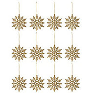Gold Glitter effect Snowflakes Decoration, Set of 12