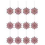 Red Glitter effect Snowflake Decoration, Set of 12