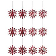 Red Glitter effect Snowflakes Decoration, Set of 12