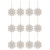 Champagne Glitter effect Snowflake Decoration, Set of 12