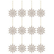 Champagne Glitter effect Snowflakes Decoration, Set of 12