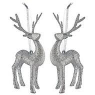 Silver Glitter effect 3D Reindeer Decoration, Set of 2