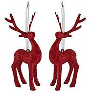 Red Glitter effect 3D Reindeer Decoration, Set of 2