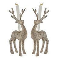 Champagne Glitter effect 3D Reindeer Decoration, Set of 2