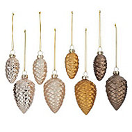 Brown Pearlescent effect Pine cones Decoration, Pack of 8