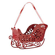Red Distressed effect 3D Sleigh Decoration
