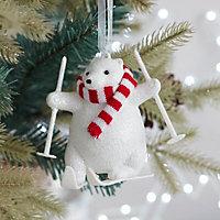 White Glitter effect Skiing polar bear Decoration