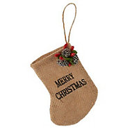 Natural Hessian merry christmas mini stocking Decoration
