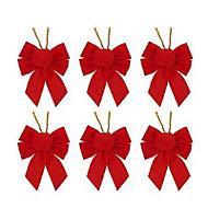 Red Velvet effect Bow Decoration, Set of 6