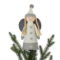 Grey & white Angel Tree topper