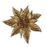 Gold Glitter effect Poinsettia Decoration