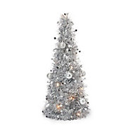 2ft Silver tinsel Table top tree