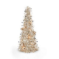 2ft Champagne tinsel Table top tree