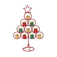 Gold & red Glitter effect Wire Table top tree