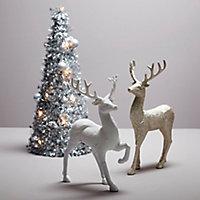 Champagne Glitter effect Reindeer Decoration