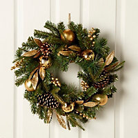 50cm 0.5m Gold effect Berry & pine cone Wreath