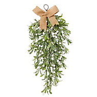Green Glitter effect Mistletoe teardrop Decoration